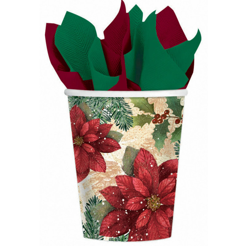 Poinsettia 9 oz. Paper Cups (8 count)