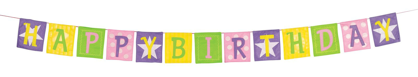Appliqued Birthday Banner - Pastel Colored