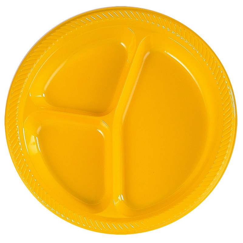 Yellow Divided Dinner Plates (20 count)