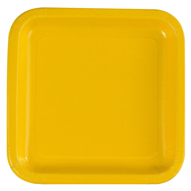 Yellow Square Dinner Plates (12 count)