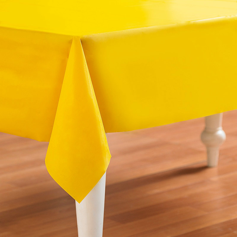 "Yellow 54"" x 108"" Plastic Tablecover"