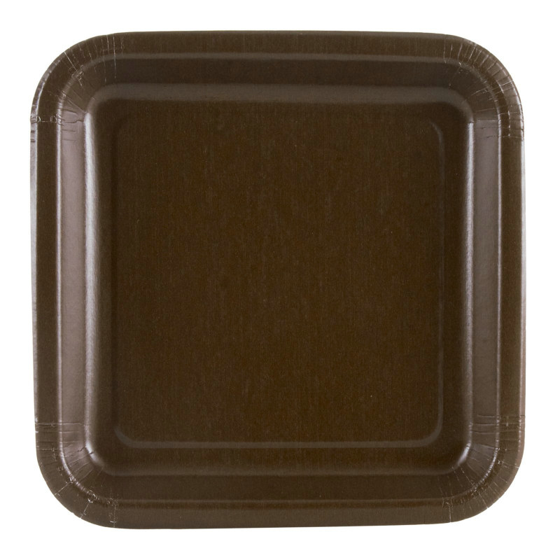 Brown Square Dessert Plates (12 count)