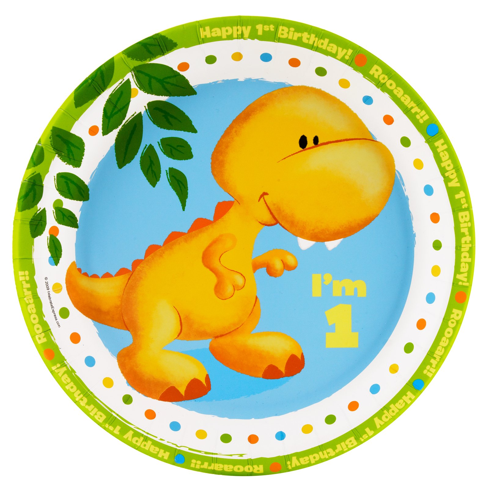 Little Dino 1st Birthday Dinner Plates (8 count)