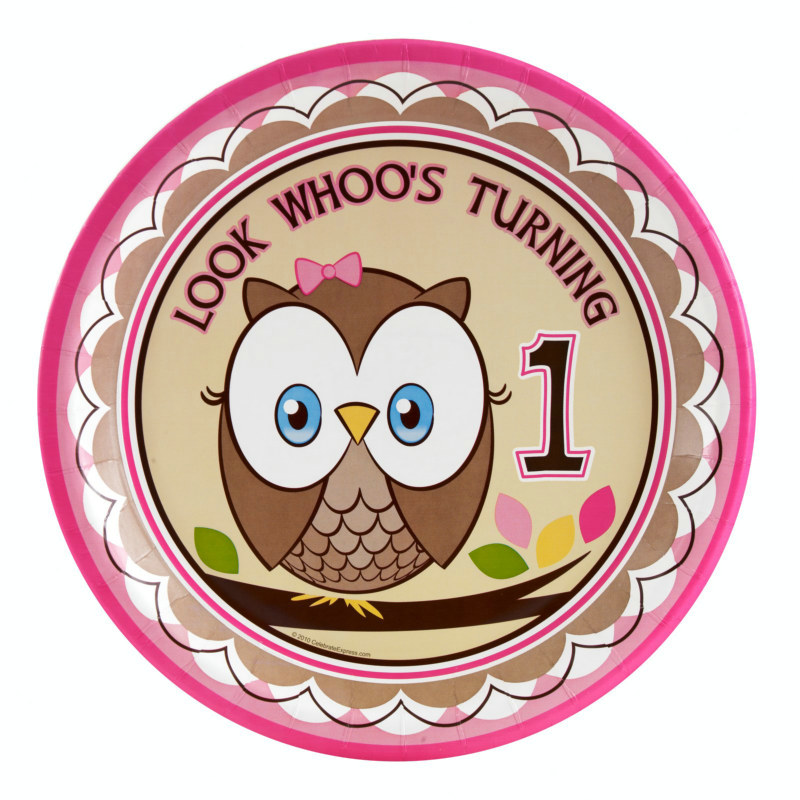 Look Whoo's 1 - Pink Dinner Plates (8 count)