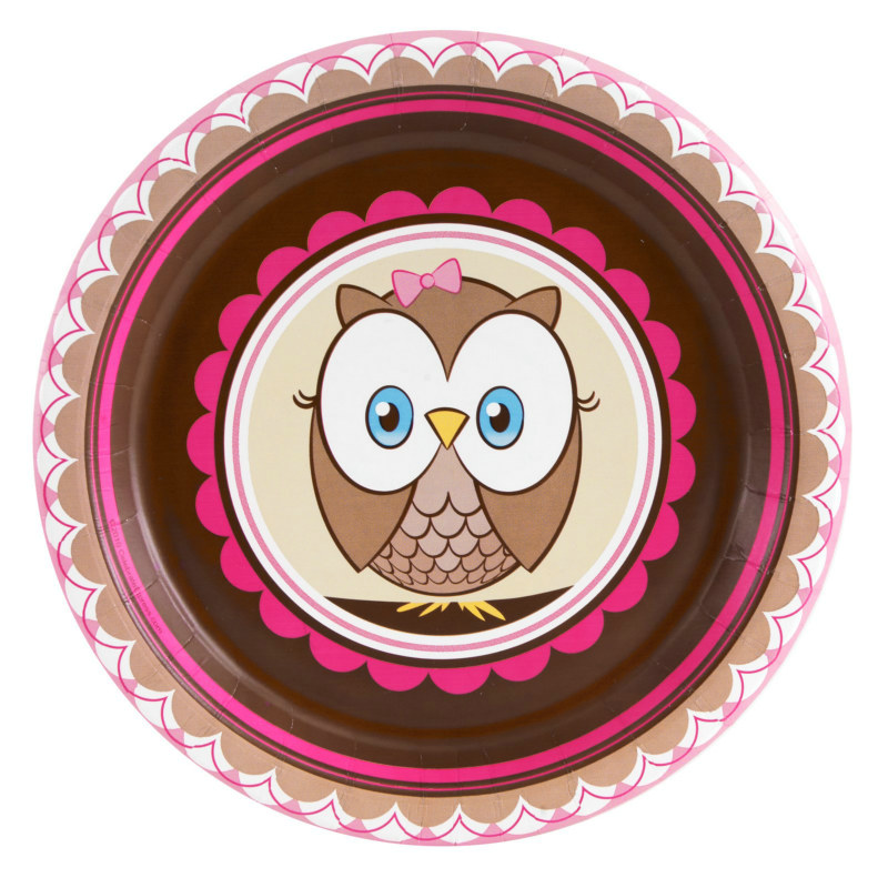 Look Whoo's 1- Pink Dessert Plates (8 count)