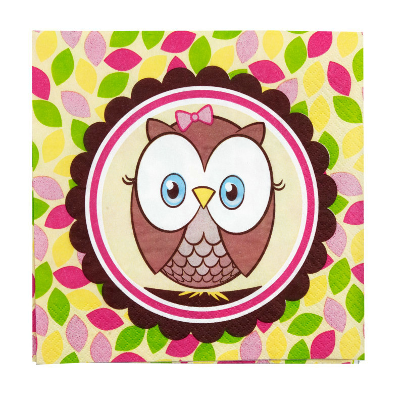Look Whoo's 1 - Pink Lunch Napkins (16 count)