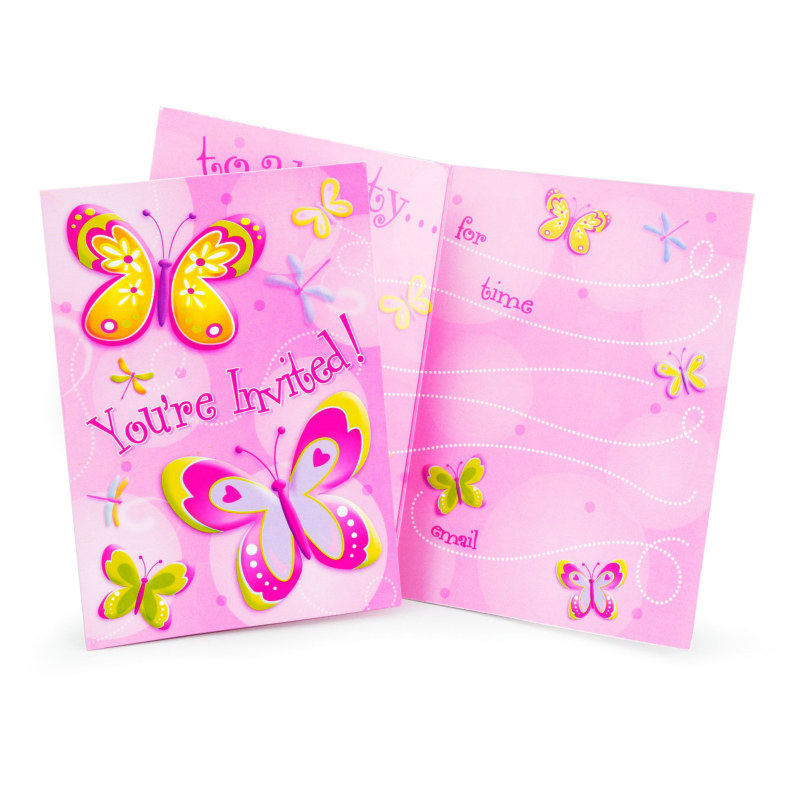 Butterflies and Dragonflies Invitations (8 count)