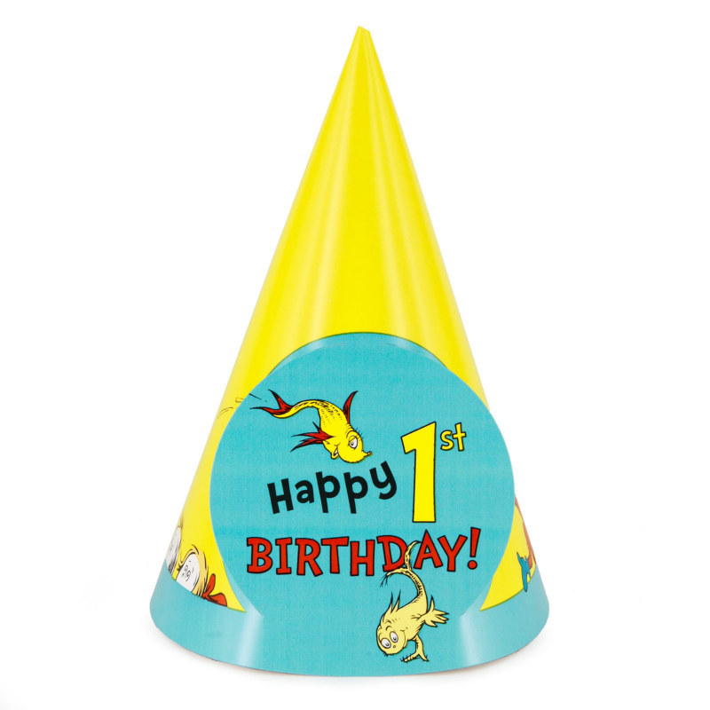 Dr. Seuss 1st Birthday Cone Hats (8 count)
