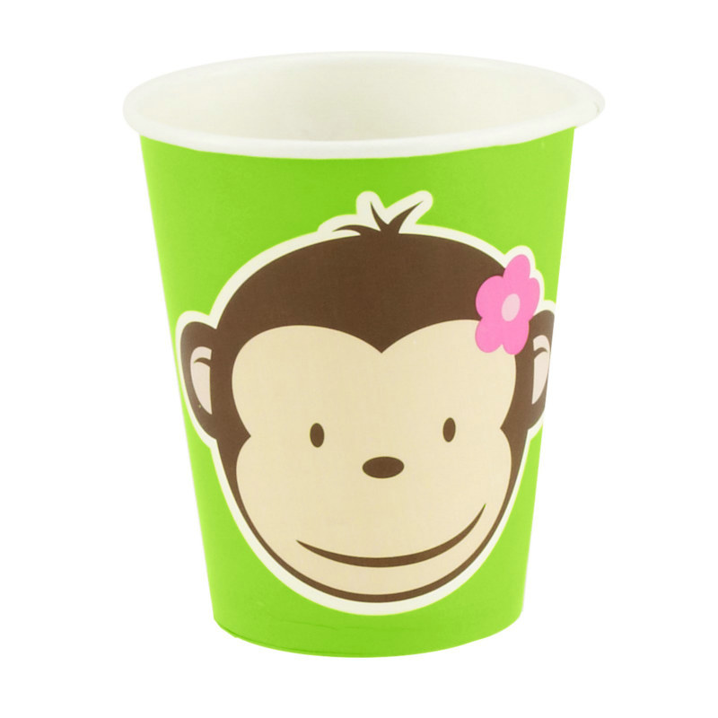 Pink Mod Monkey 9 oz. Paper Cups (8 count)