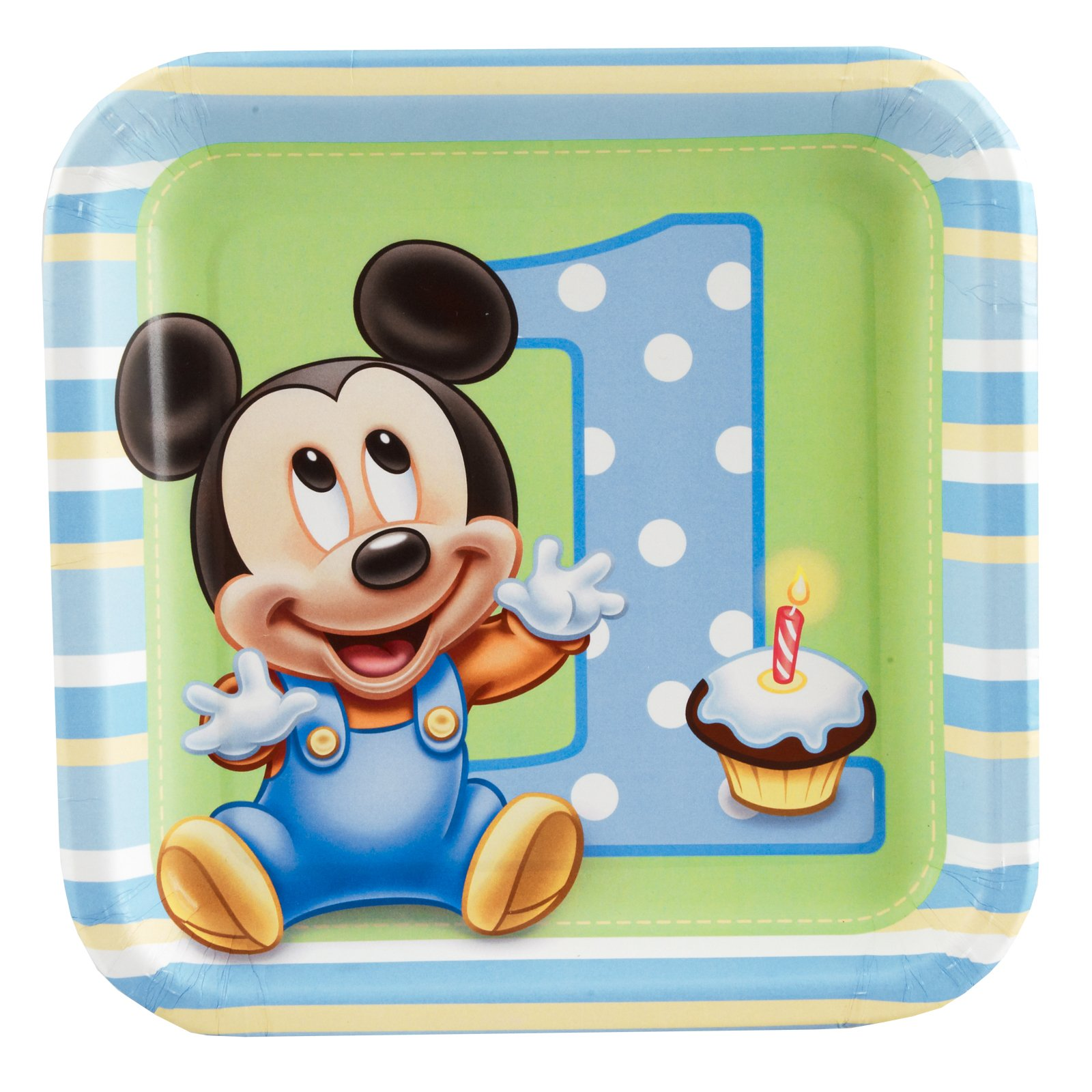Mickey's 1st Birthday Square Dessert Plates (8 count)