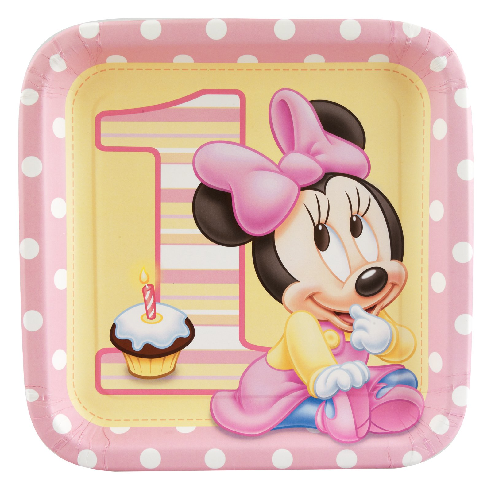 Minnie's 1st Birthday Square Dinner Plates (8 count)