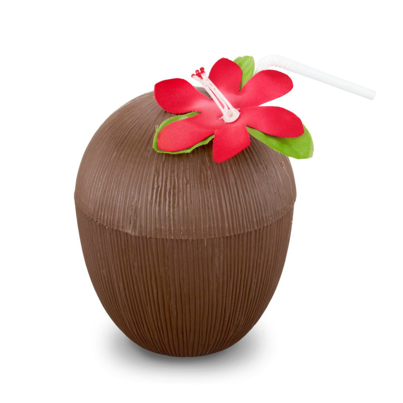 Coconut Cup with Cover and Straw