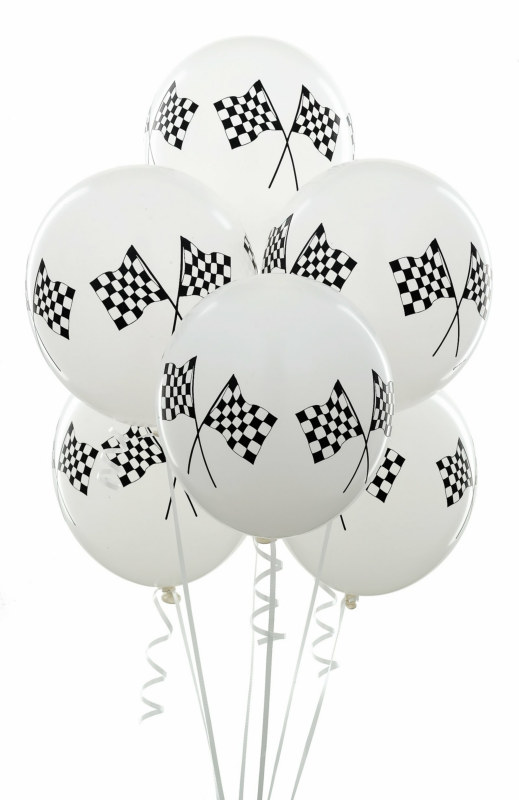 "11"" Racing Flags Balloons (6 count)"