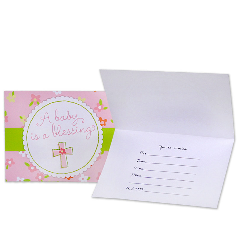 Blessed Baby Girl Invitations (8 count)
