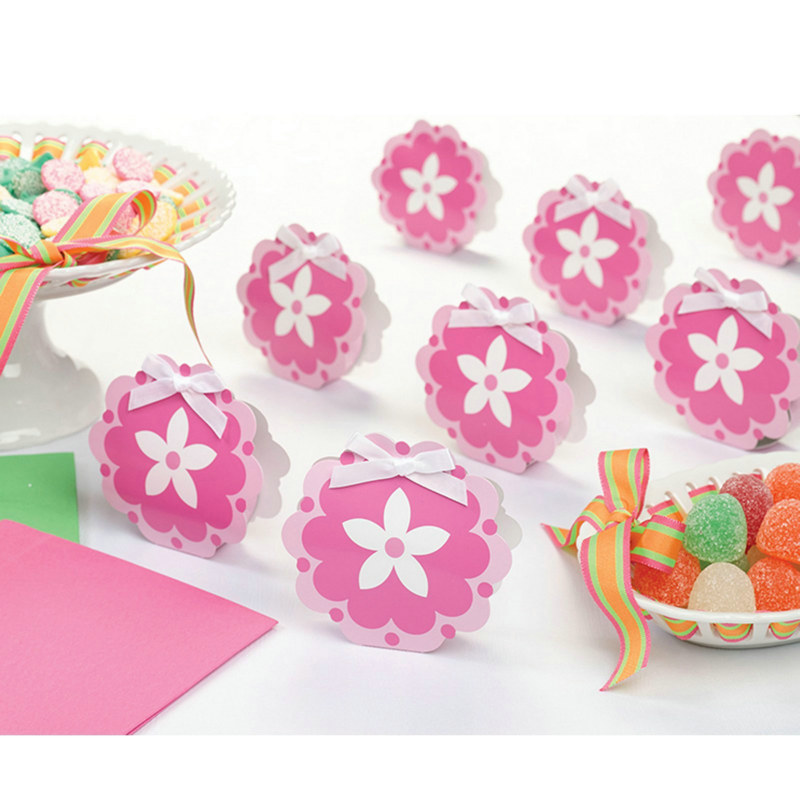 Pink Flower Favor Boxes (12 count)