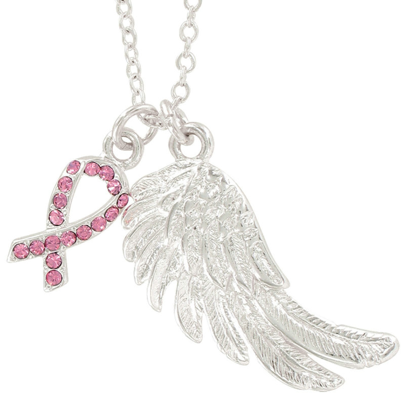 Breast Cancer Awareness Angel Wish Necklace