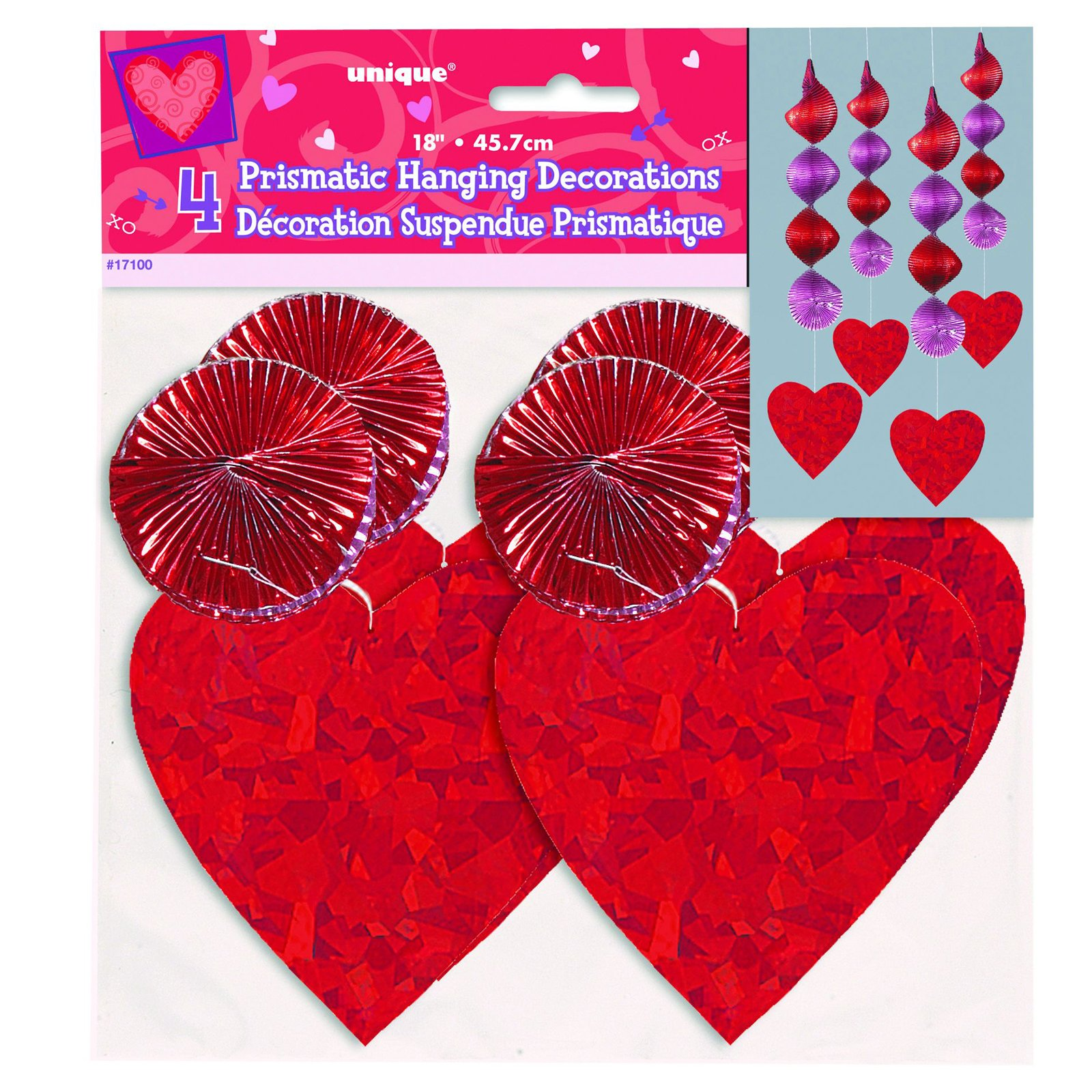 Heart Prismatic Hanging Decorations (4 count)