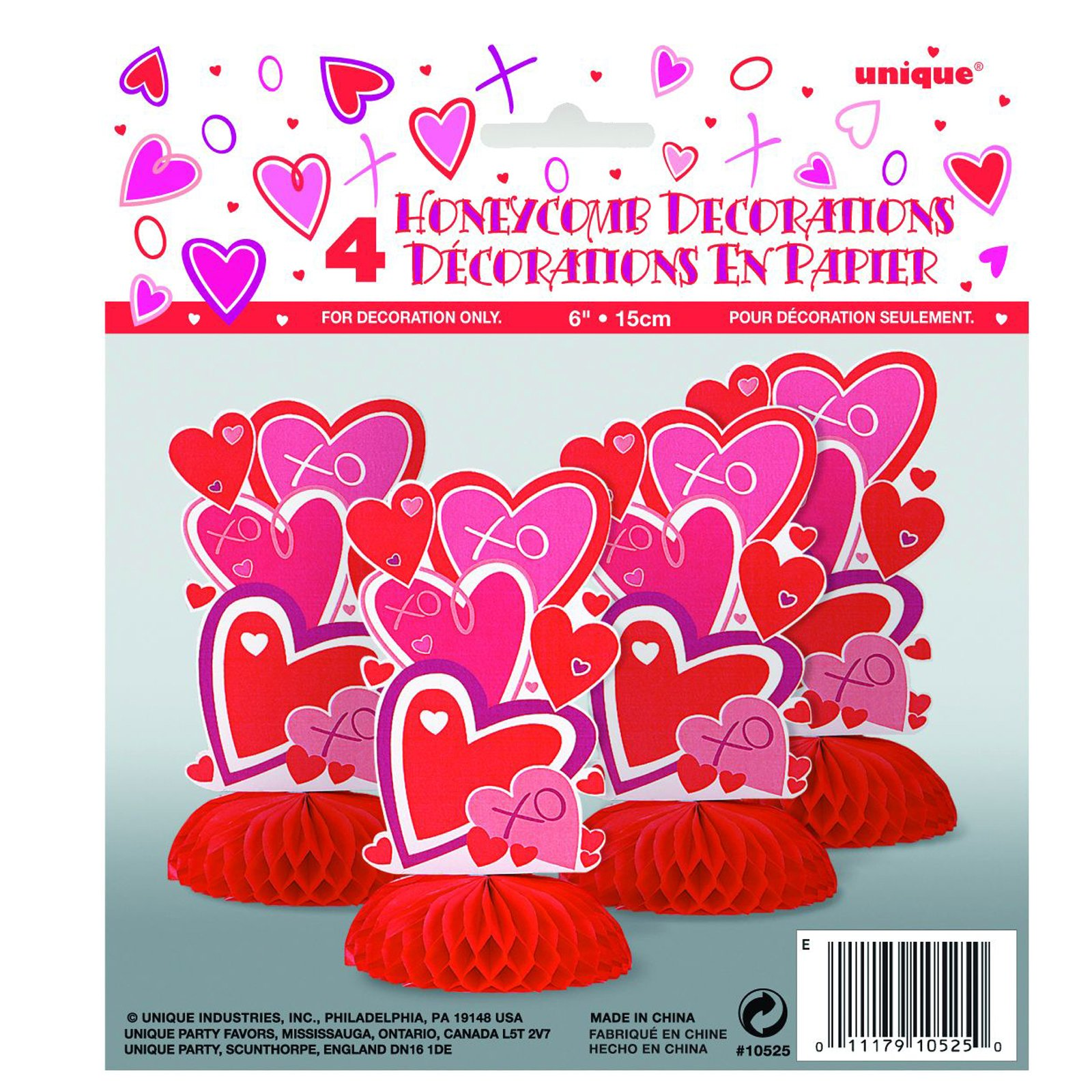 Hearts Mini Honeycomb Decorations (4 count)