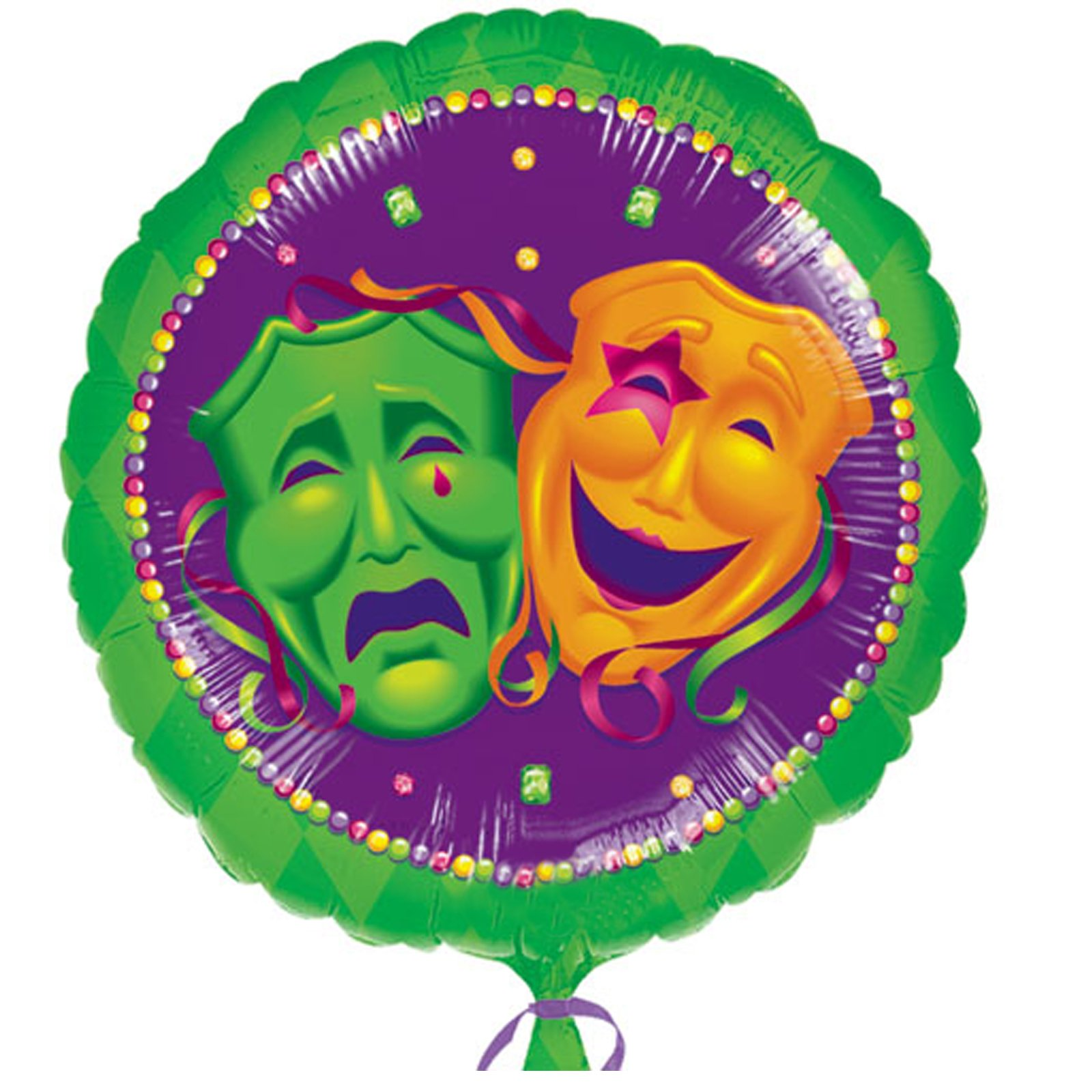 "Masquerade Comedy/Tragedy Faces 18"" Foil Balloon"