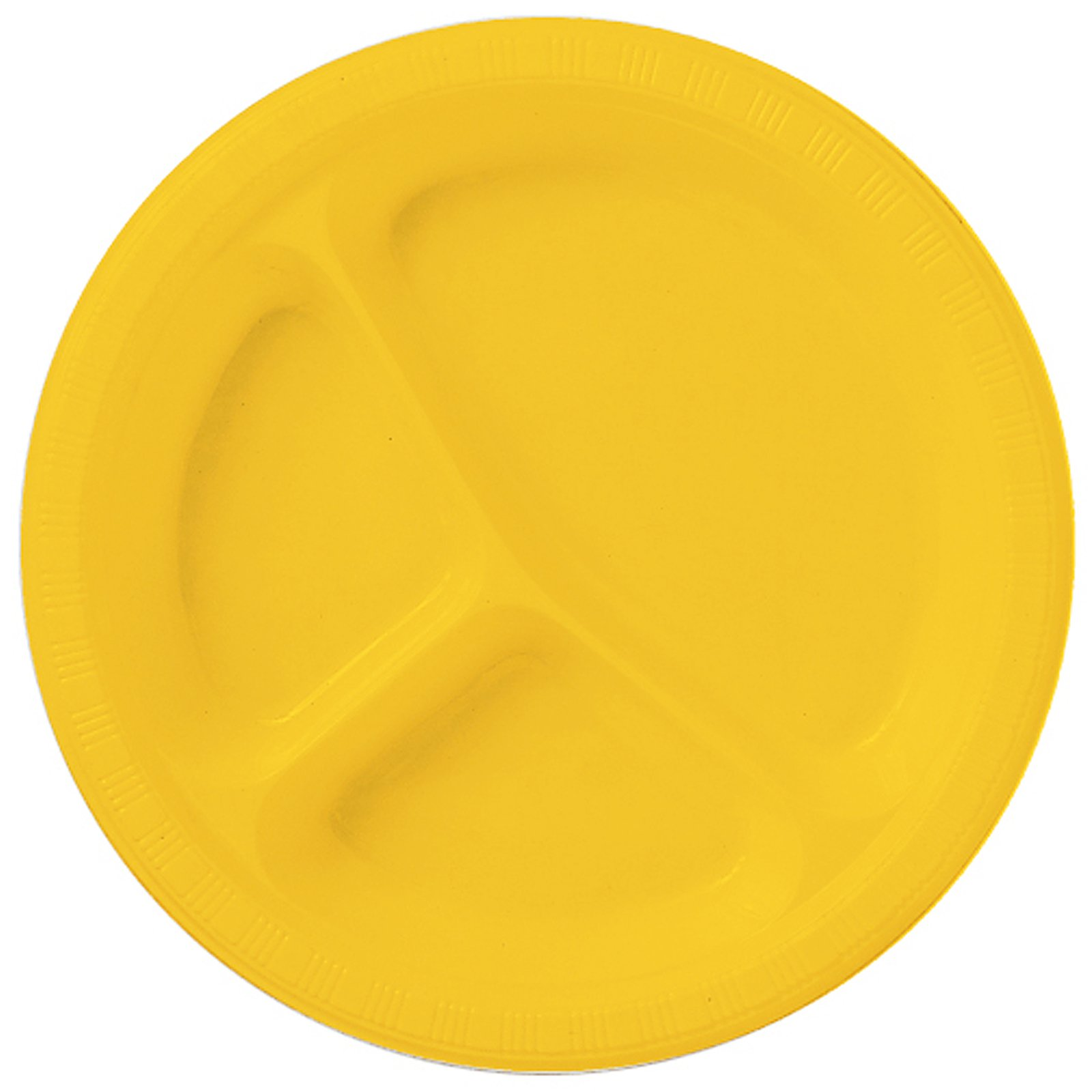 School Bus Yellow (Yellow) Plastic Divided Dinner Plates (20 cou