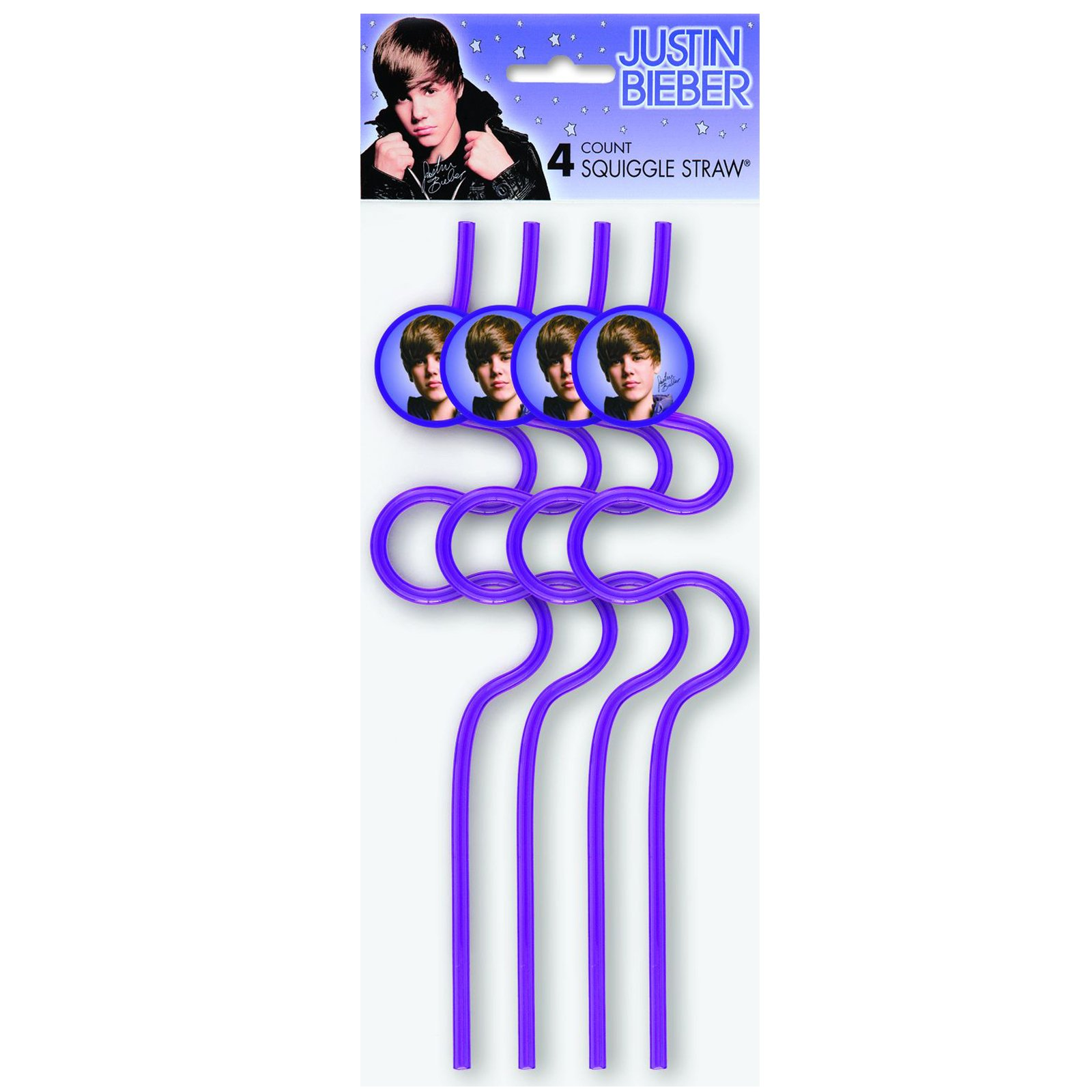 Justin Bieber Squiggle Straws (4 count)