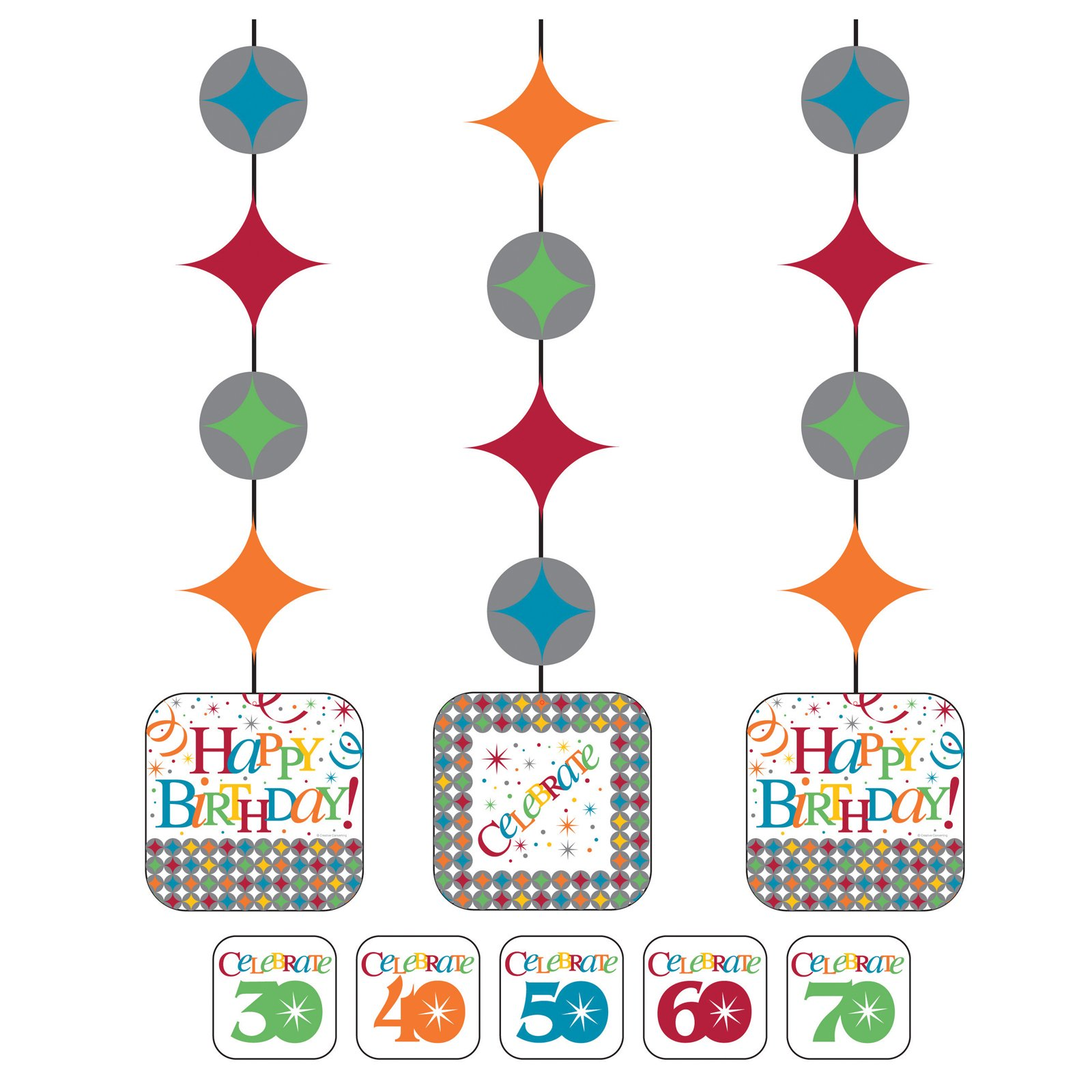 Celebrate In Style Hanging Cutouts with Age Stickers (3 count)