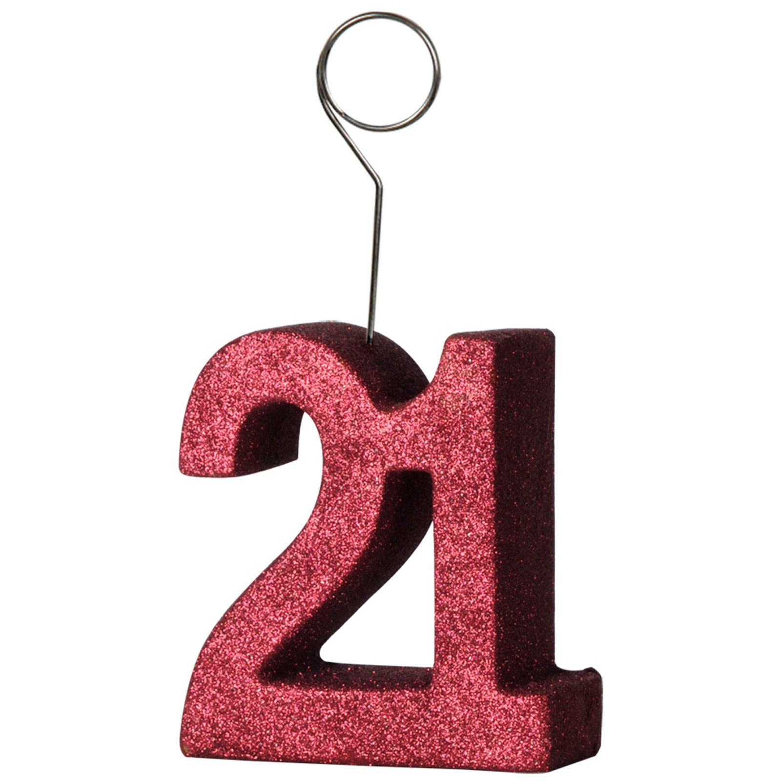 "Red Glittered ""21"" Balloon Weight / Photo Holder"