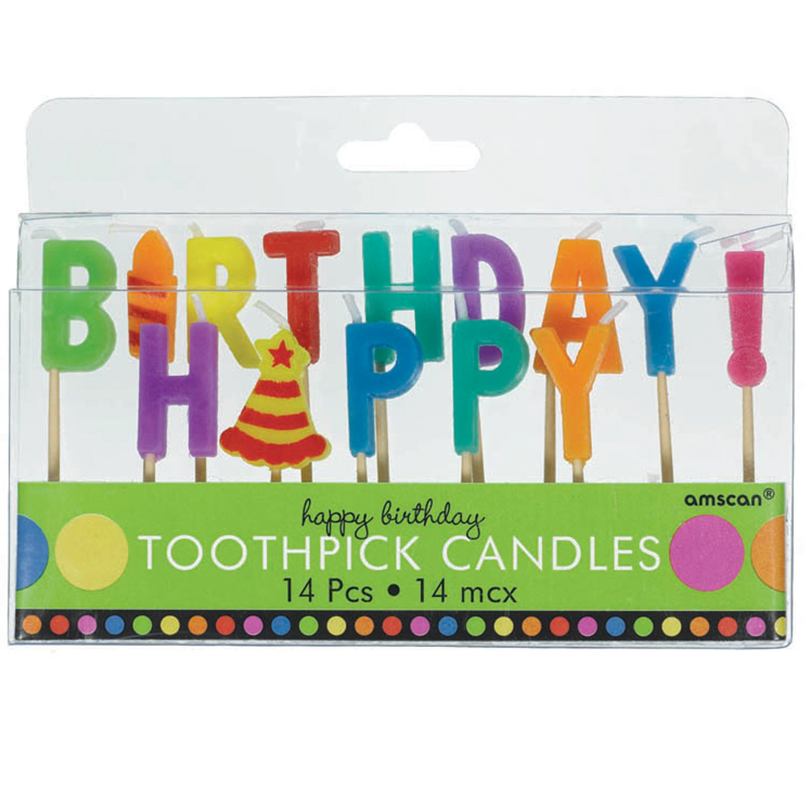 Dots and Stripes Happy Birthday Toothpick Candles (14 count)