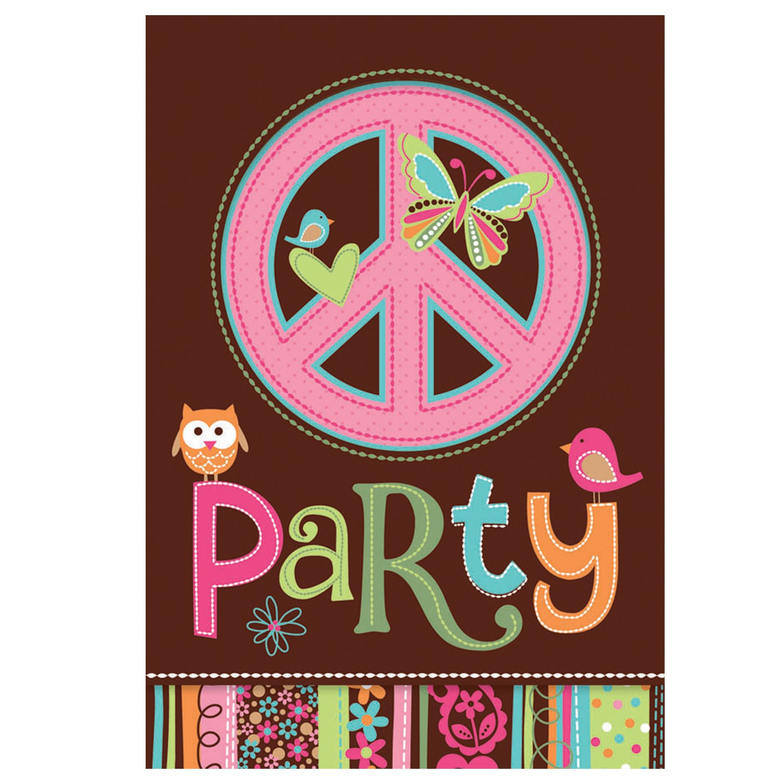 Hippie Chick Birthday Invitations (8 count)