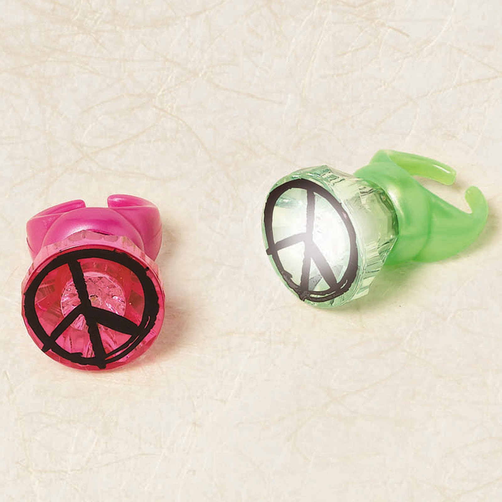 Neon Peace Sign Light Up Ring Assorted (1 count)