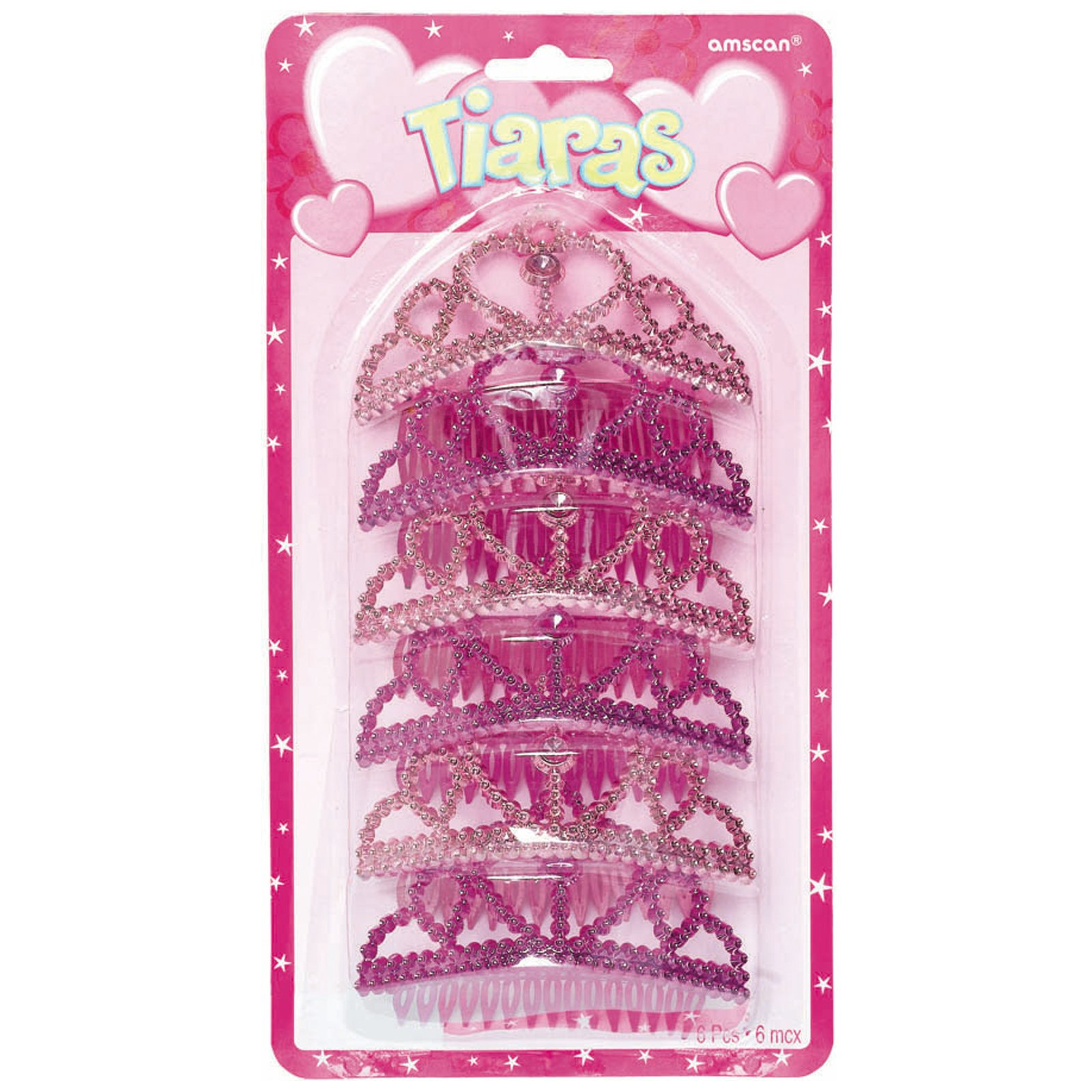 Pink Princess Tiaras Assorted (6 count)