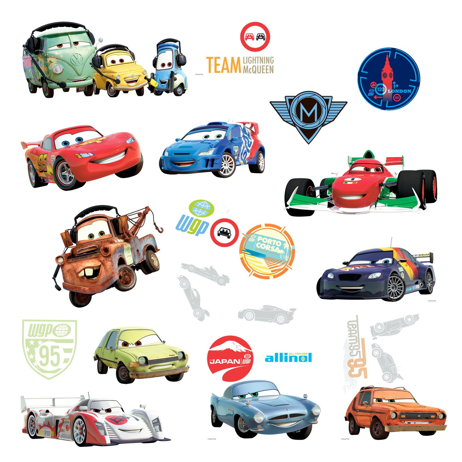 Disney Cars 2 - Removable Wall Decorations