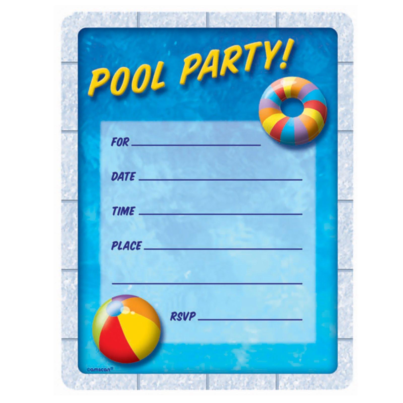 Pool Party - Invitations (50 count)