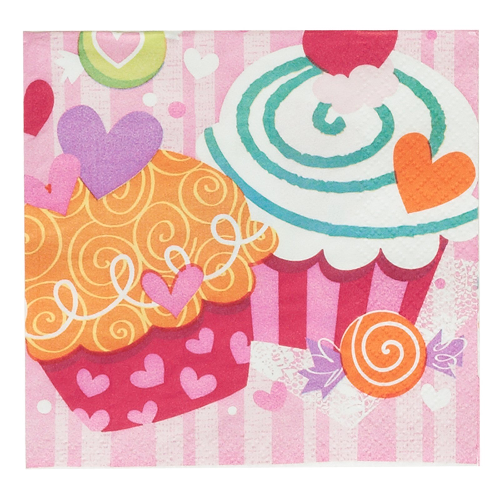 Valentine's Day Cupcake Hearts - Beverage Napkins (16 co