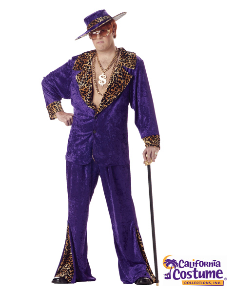 Plus Size Pimp Crushed Includes Hat Costume for Adult