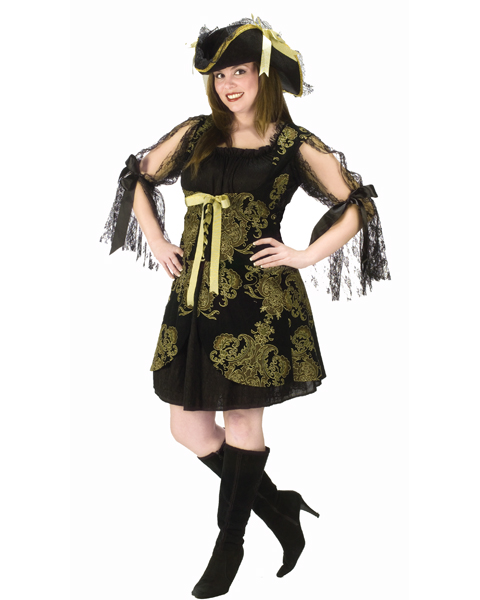 Plus Size Gold Brocade Pirate Costume