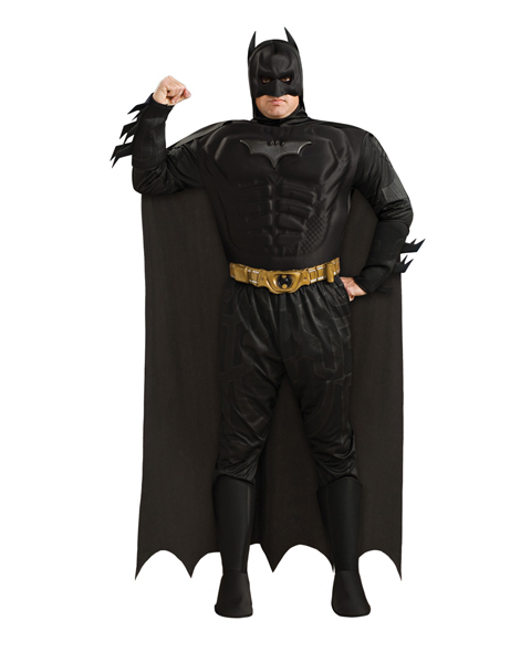 Plus Size Deluxe Dark Knight Muscle Chest Batman Costume for Adu