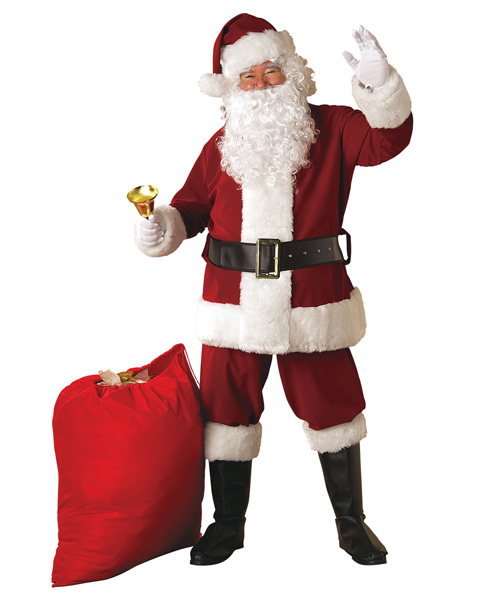 Extra Large Crimson Regency Plush Santa Suit Costume for Adult