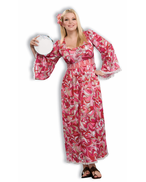 Womans Plus Size Hippie Flower Child Costume