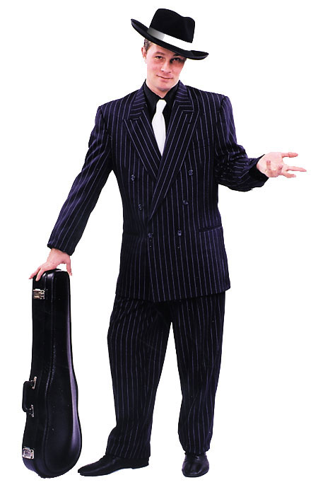 Black Zoot Suit w/ White Pin Stripe Adult Costume: Size 50