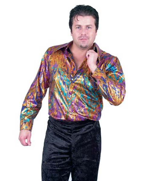Mens Plus Disco Multi Rainbow Shirt