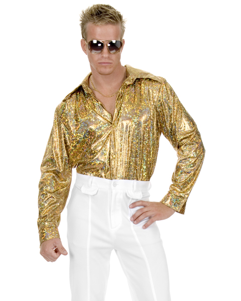 Mens Plus Size Disco Gold Glitter Shirt