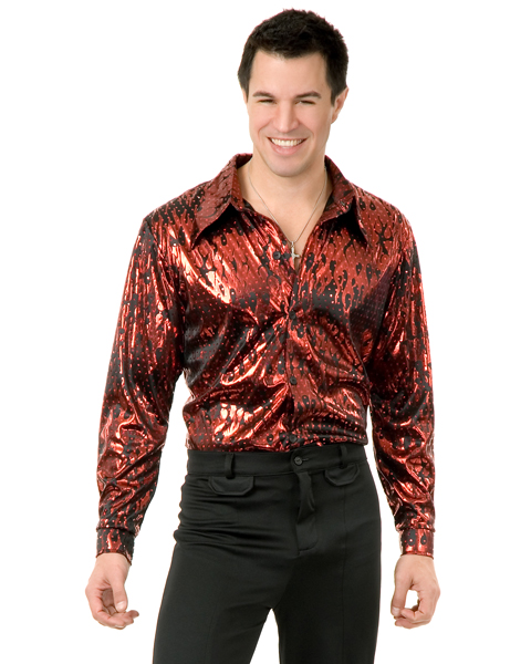 Mens Plus Size Disco Red Flame Shirt