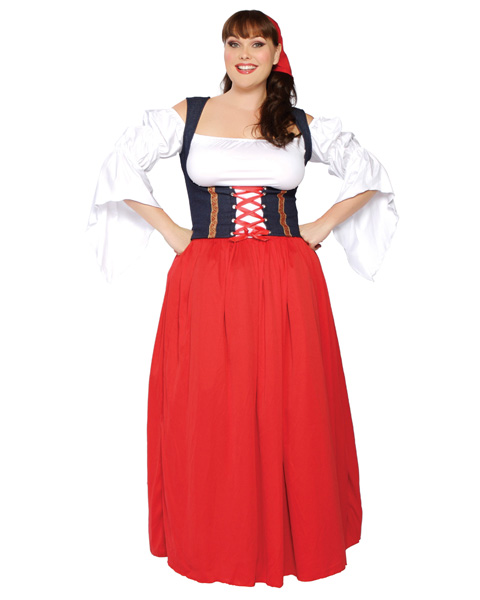 Sexy Adult Plus Swiss Miss Beer Girl Costume