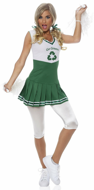 Go Green Cheerleader Adult Costume