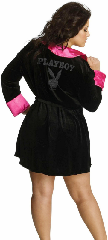 Secret Wishes Hef Robe (Black/Pink) Adult Plus Costume