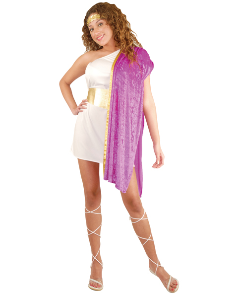 Teens White and Fuchsia Toga Woman Costume