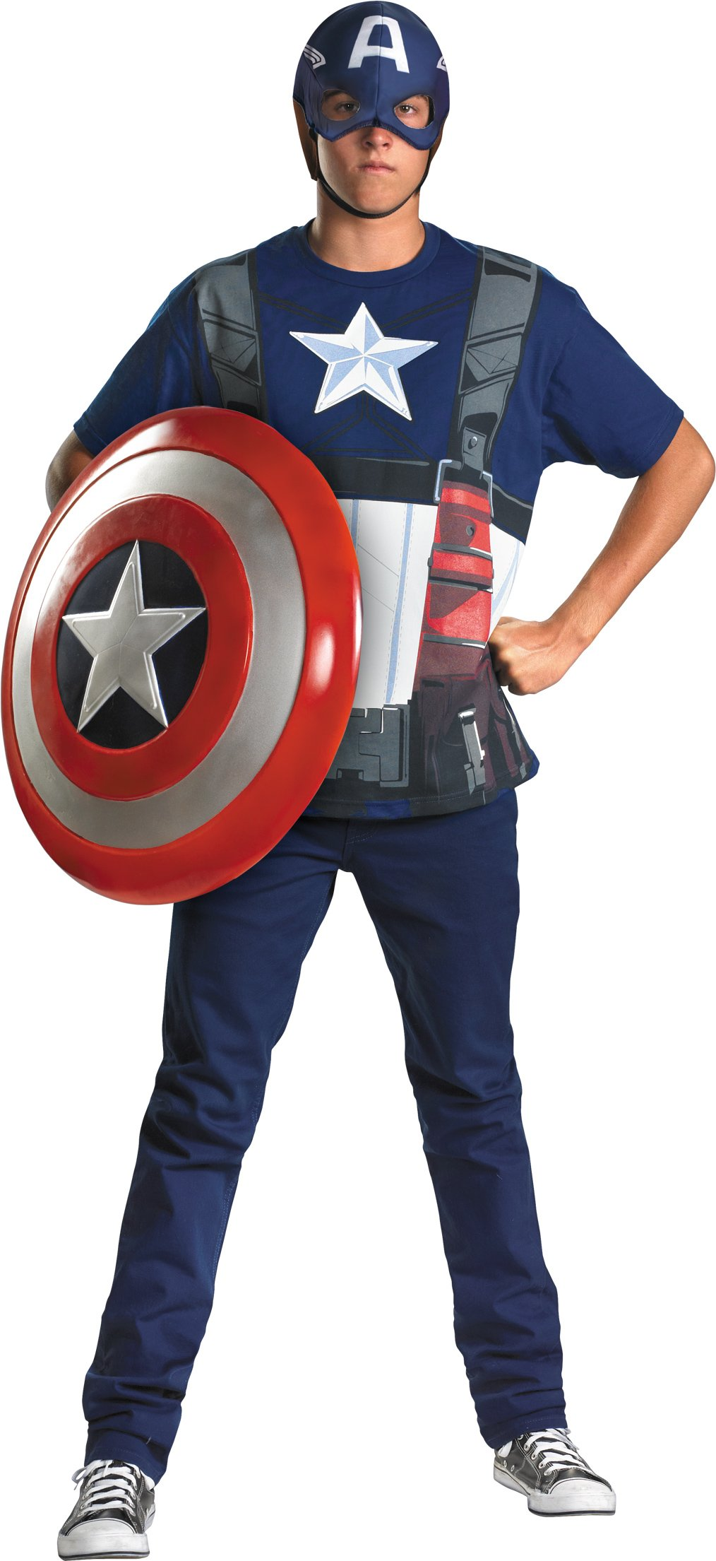 Captain America T-Shirt And Mask Adult Costume Set