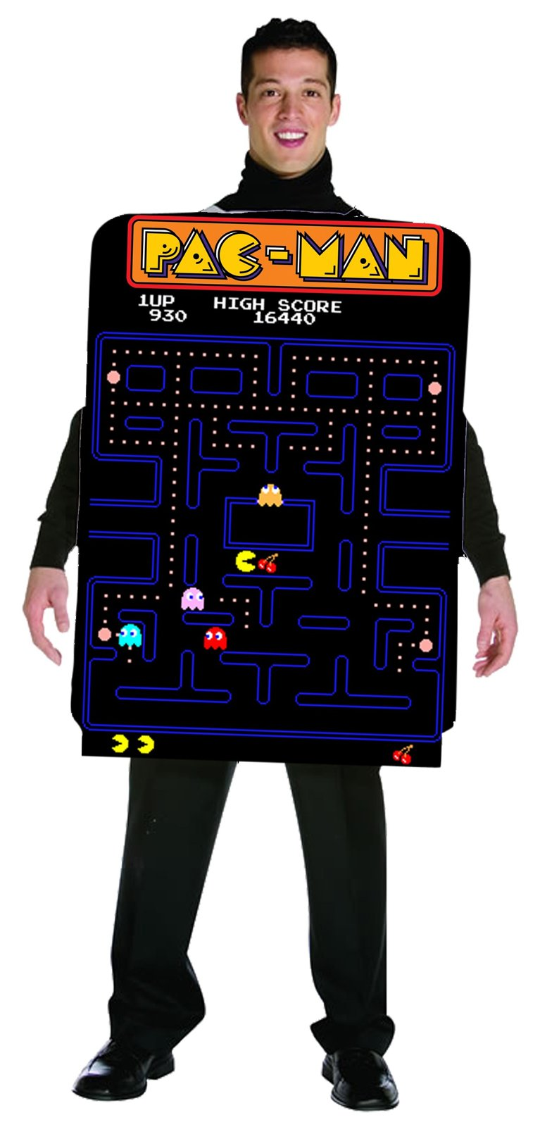 Pac-Man Adult Video Game Screen Poncho Adult Costume