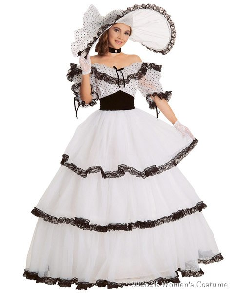Black And White Southern Belle Womens Costume